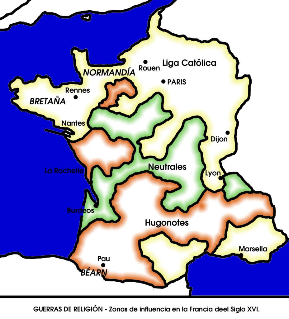 Guerras de Religión - Zonas de influencia en la Francia del siglo XVI
