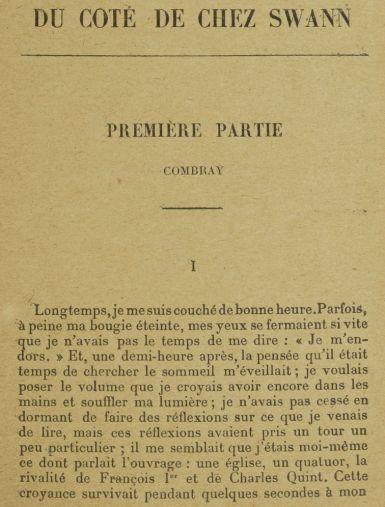 Marcel Proust. Du côté de chez Swann