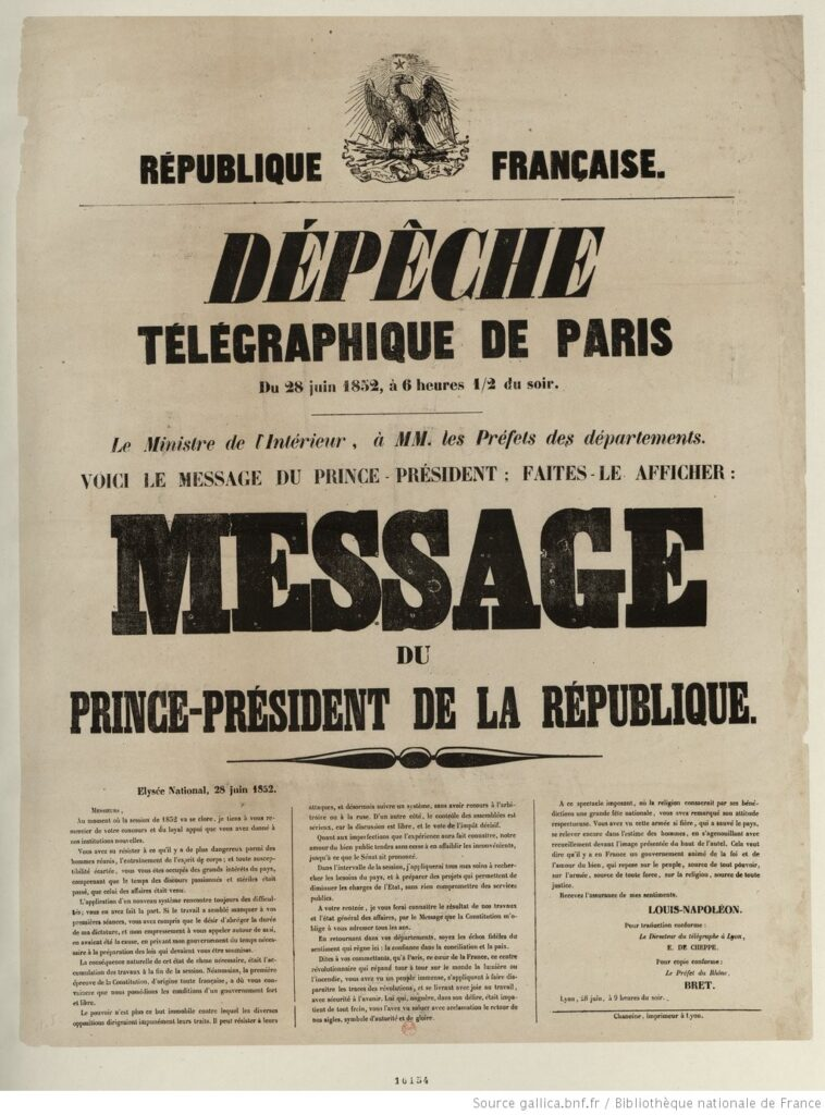 Mensaje del Presidente Luis-Napoleón, de 28 de juniode 1852