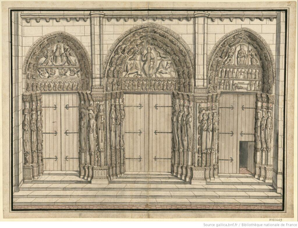 Portail royal. Fachada Oeste Notre-Dame de Chartres. BNF