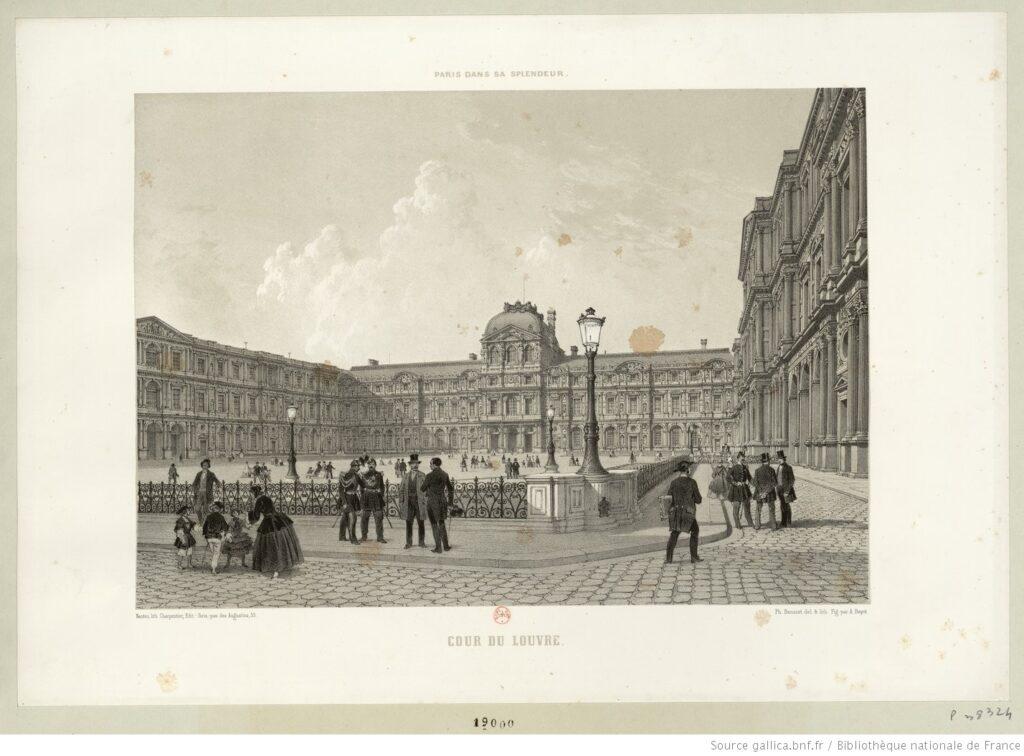 Cour du Louvre. Vieja estampa. BNF