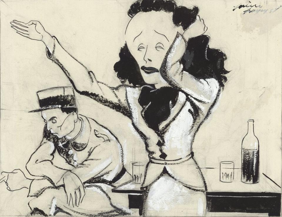 """Piaf canta """"Le Légionnaire"""" en la revista """"La Lune rousse"""" (dibujo de Pierre Payen, 1938). BNF"""