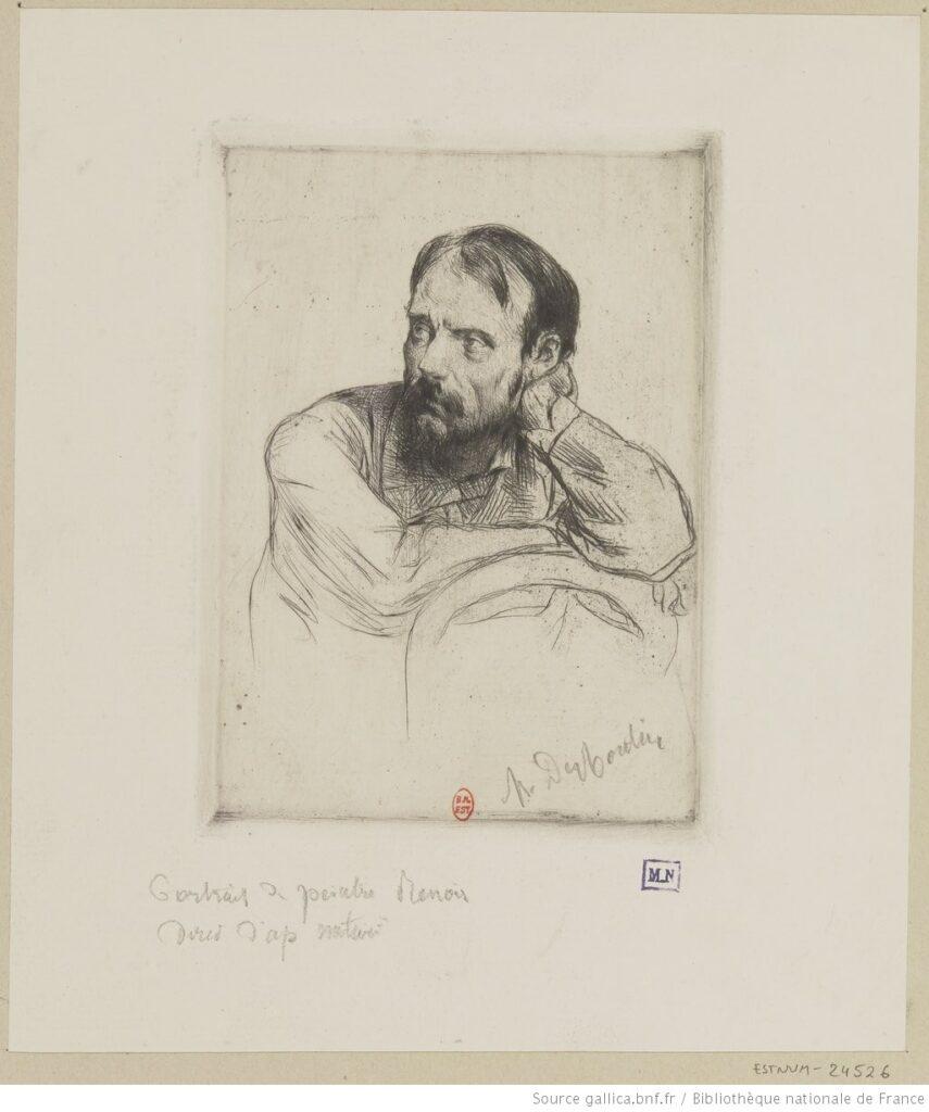 Auguste Renoir. Dibujo del natural (M. Desboutin, 1877). Estampes,BNF.