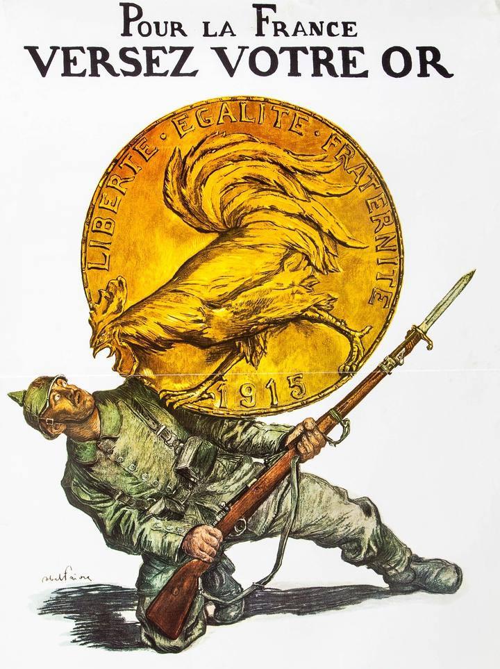 Exhortación a contribuir patrióticamente en el esfuerzo de guerra: Entrega tu oro