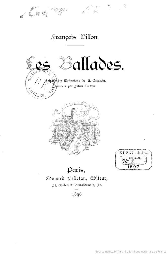 Villon, François - Les Ballades (portada de edición, BNF)