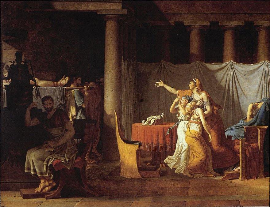 David, Jacques Louis - Los lictores trayéndole a Bruto los cuerpos de sus hijos