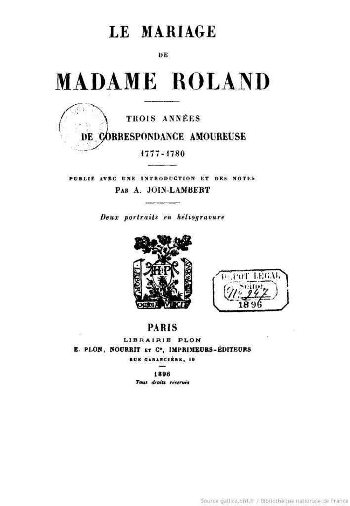 Le Mariage de Madame Roland