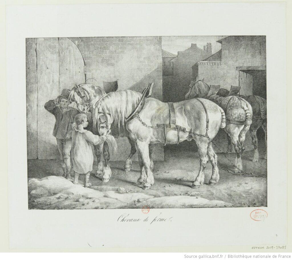 Géricault. Caballos de granja. Estampa (1823). BNF.