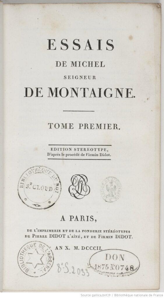 Los Ensayos de Montaigne, edición de 1802 (BNF)