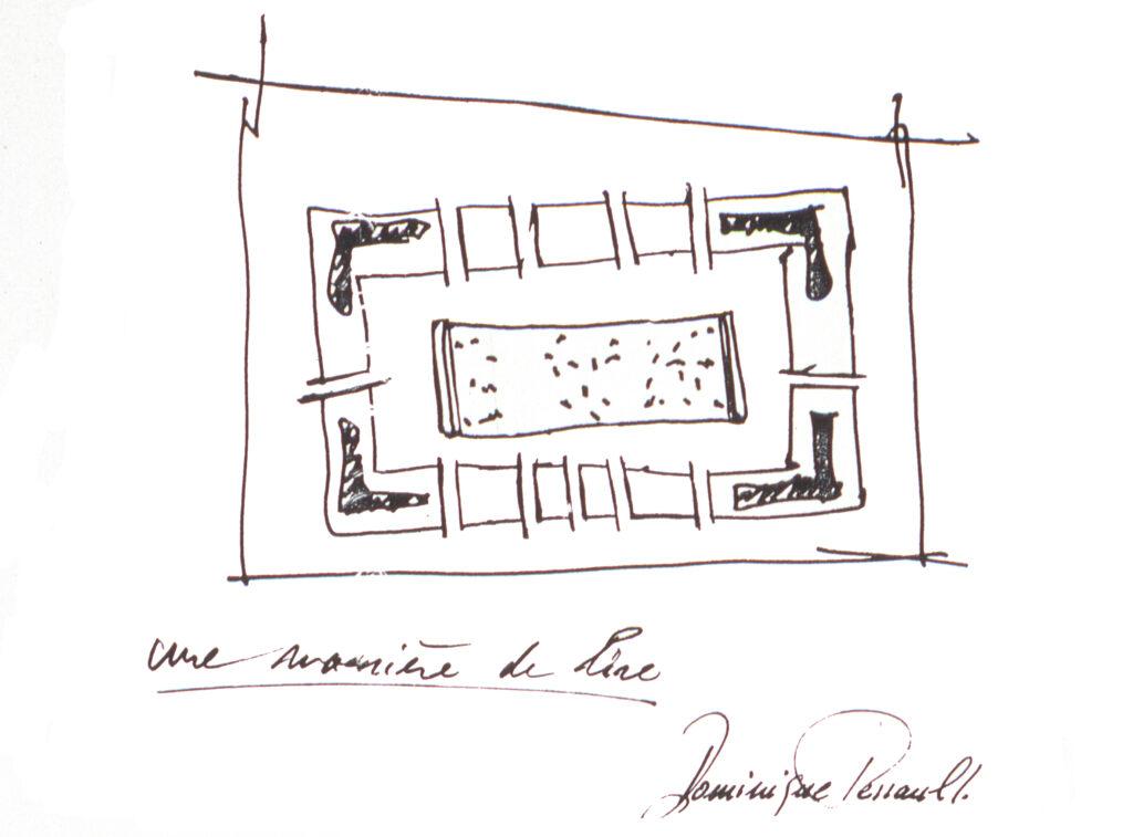 Biblioteca Nacional de Francia, site François Mitterrand, esbozo de su arquitecto