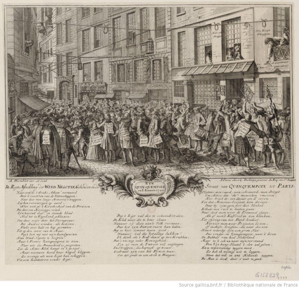 La rue Quinquempoix, en la epoca del Sistema Law.