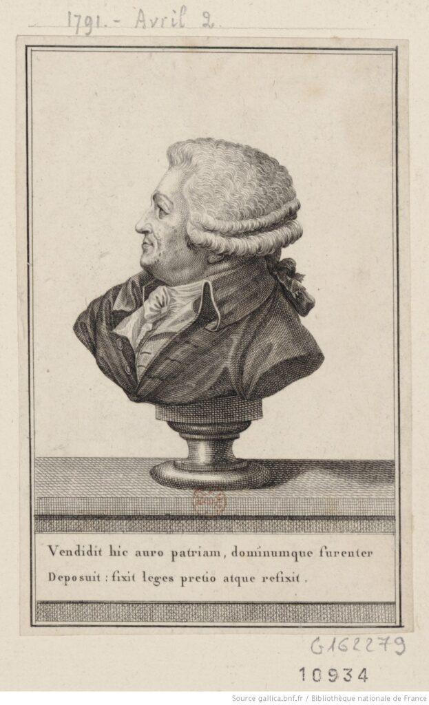 Busto de Mirabeau con una poco amable alusión a su faceta venal.