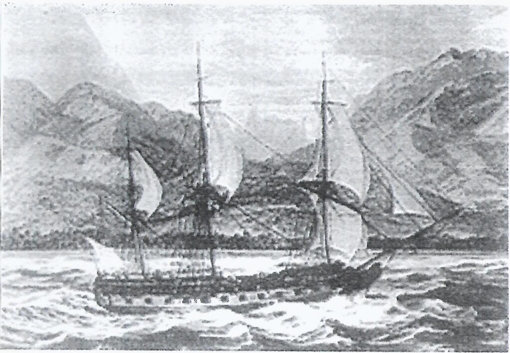 """""""La Boudeuse"""" llegando a Tahití."""