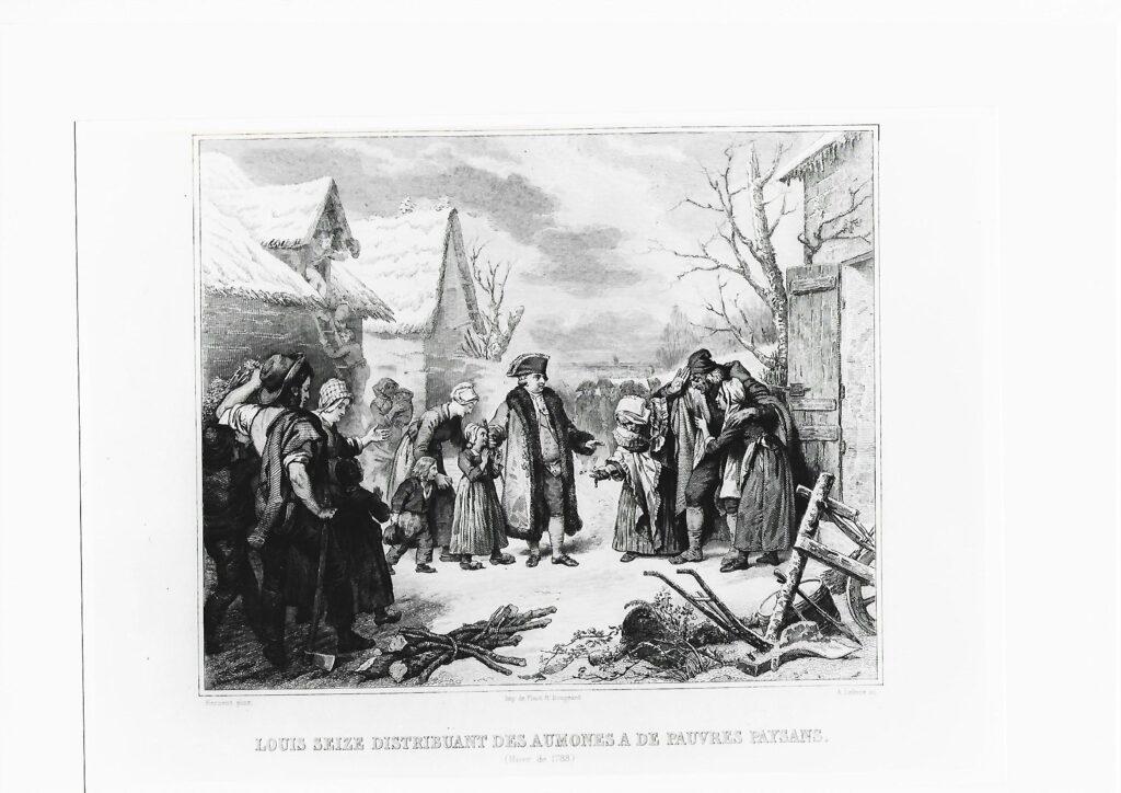 Luis XVI distribuyendo limosnas a pobres campesinos