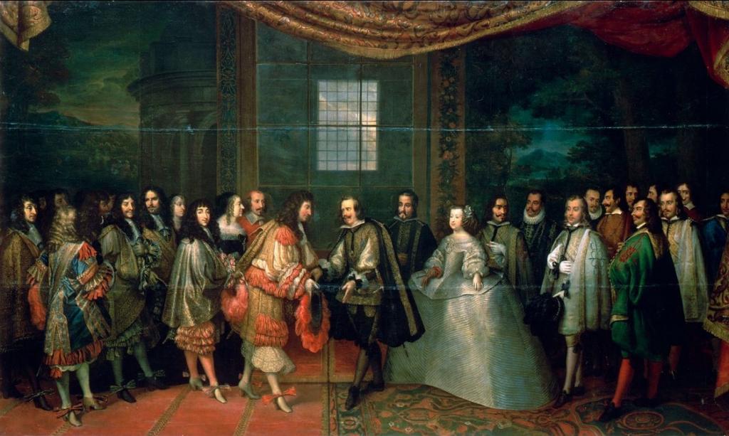Tratado de los Pirineos. Encuentro entre Luis XIV y Felipe IV en la Isla de los Faisanes (Charles Lebrun, Versalles).